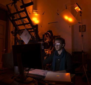 Camera operator Damian Kasotakis operating the spectral imaging system at St. Catherine's Monastery